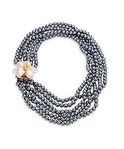 Kenneth Jay Lane | 6 Rows Faux-Pearl Flower Necklace