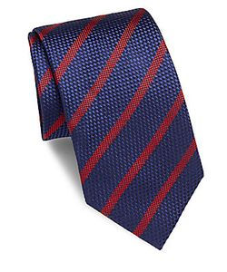 Brioni | Striped Embossed Silk Tie