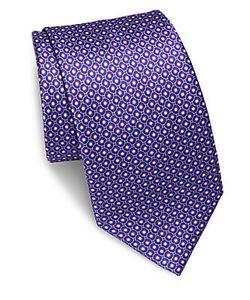 Brioni | Bubble Printed Silk Tie