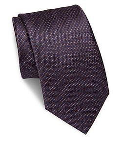 Brioni | Zigzag Dot-Print Silk Tie
