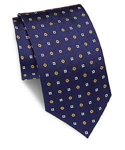Brioni | Flower Square Printed Silk Tie