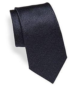 Canali   Solid Textu Silk Tie