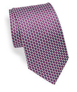 Brioni | Abstract Geometric Print Silk Tie