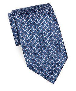 Brioni | Paisley-Print Textured Silk Tie