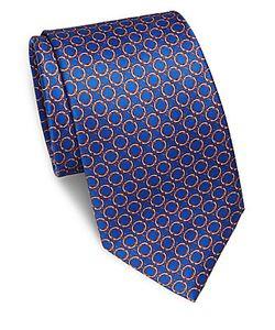Brioni | Repeating Circle Printed Silk Tie