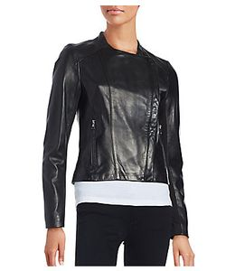 Karl Lagerfeld | Asymmetrical Front Leather Moto Jacket