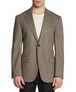 Corneliani   Virgin Wool Cashmere Herringbone Slim-Fit Blazer