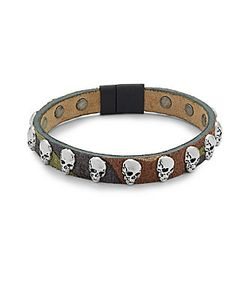 Tateossian | Leather Skull Bracelet
