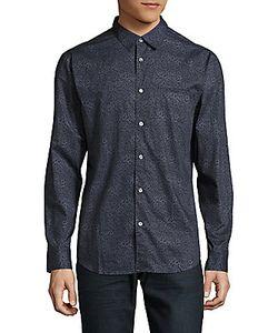 John Varvatos   Printed Point-Collar Cotton Shirt