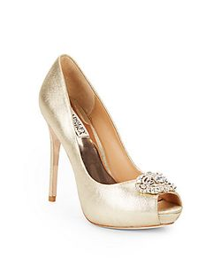 Badgley Mischka | Fawn Ii Leather Peep-Toe Pumps