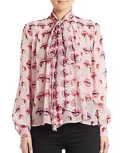 Giamba | Tie-Neck Printed Silk Blouse