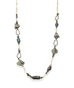 Alexis Bittar | Elements Labradorite Rough Pyrite Crystal Honeycomb Link Necklace