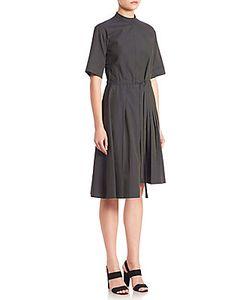 Alberta Ferretti   Asymmetrical Pleated Poplin Shirtdress