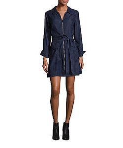 7 For All Mankind | Zip-Front Belted Denim Mini Dress