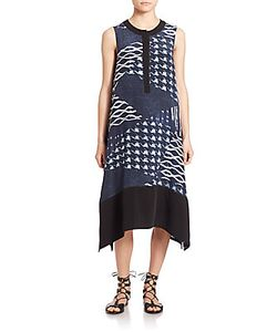 Public School | Cyra Geometric Silk A-Line Dress