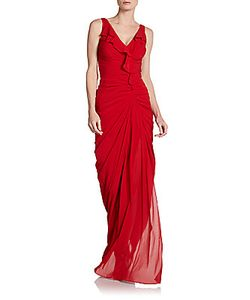 Badgley Mischka | Ruffle-Front Gown