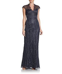 Theia | -Lace Cap-Sleeve Gown