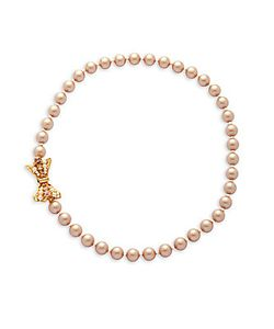 MIRIAM HASKELL | 8mm Faux Pearl Bow Necklace
