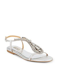 Badgley Mischka | Mckinzey Jewel-Embellished Leather Sandals