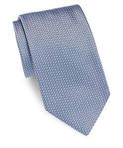 Brioni | Geometric Textured Silk Tie