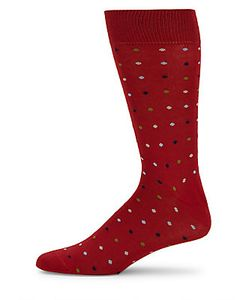 Saks Fifth Avenue Made in Italy | Dot-Print Cotton-Blend Socks