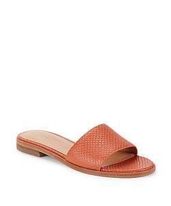 H Halston   Textured Leather Slide Sandals