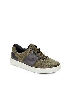 Salvatore Ferragamo | Canvas Leather Stripe Sneakers