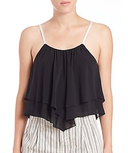 Alice + Olivia | Castor Silk Layered Cropped Top