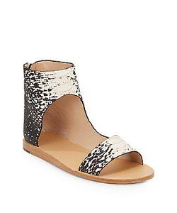 Loeffler Randall | Pasha Snake-Embossed Leather Sandals