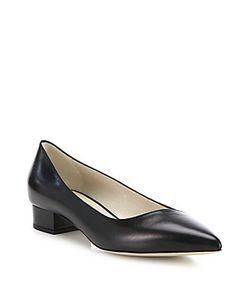 Giorgio Armani | Asymmetrical Leather Block Heel Ballet Flats