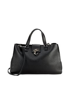 Versace Collection | Textured Leather Crossbody Tote