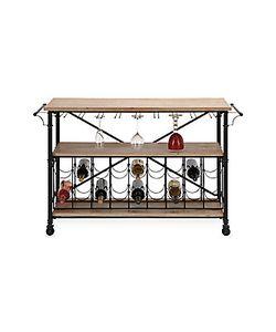 Uma | Wood Iron Rolling Wine Rack