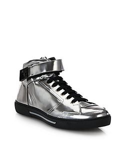 Versace | Leather High-Top Sneakers