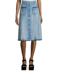 7 For All Mankind | Button-Front Denim Midi Skirt