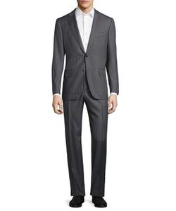 Isaia | Regular-Fit Wide Stripe Wool Suit