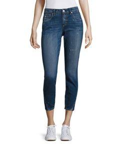 Amo | Twist Cropped Dark Wash Skinny Jeans