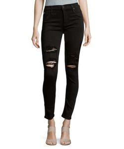Hudson | Lilly Mid-Rise Distressed Skinny Ankle Jeans