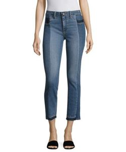 Paige | Taylor Pieced Raw-Edge Straight-Leg Jeans