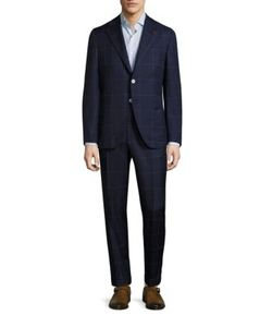 Isaia | Windowpane Wool Suit