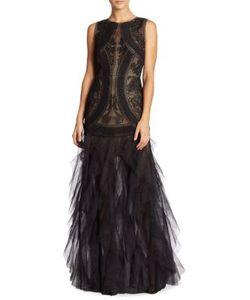 BCBGMAXAZRIA   V-Back Lace Tulle Gown