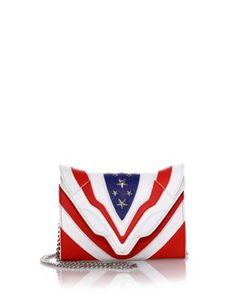 Elena Ghisellini | Felina Mignon Stars Stripes Small Leather Crossbody Bag