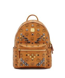 MCM | Stark M Stud Small Coated Canvas Backpack