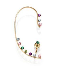 Delfina Delettrez | Multicolor Dots Topaz Peridot Single Ear Cuff