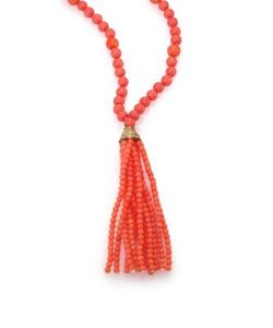 Kenneth Jay Lane | Coral Beaded Tassel Necklace