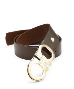 Salvatore Ferragamo | Double Gancini Adjustable Leather Belt