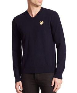 Comme Des Garçons Play   Small Emblem V-Neck Sweater