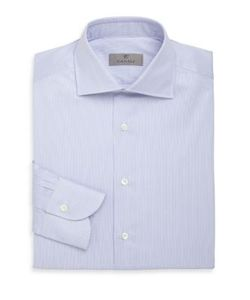 Canali | Hairline Striped Cotton Dress Shirt