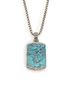 John Hardy | Batu Classic Chain Turquoise Sterling Silver Dog Tag Necklace