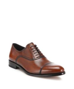 Salvatore Ferragamo | Guru Cap Toe Burnished Calfskin Leather Oxfords