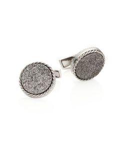 Tateossian | Textured Titanium Silver Cuff Links
